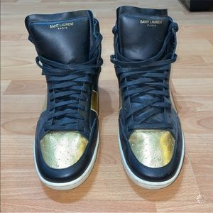 Saint Laurent Men's Metallic High Top Sneakers